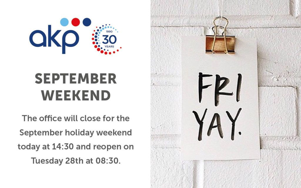 September Holiday Weekend – Office Hours